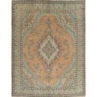 """Vintage Muted Tabriz Hand Knotted Wool Oriental Persian Area Rug - 12'8"""" x 9'7"""""""