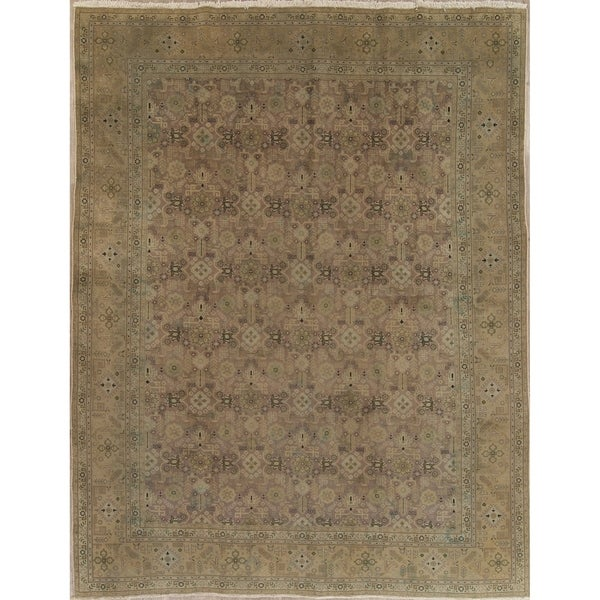 """Vintage Muted Tabriz Geometric Hand Knotted Wool Persian Area Rug - 12'7"""" x 9'7"""""""
