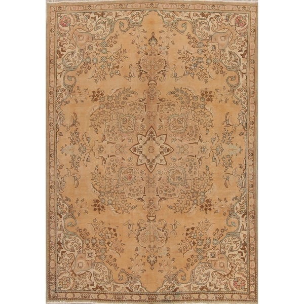 5eff5f0ea8 Vintage Muted Tabriz Hand Knotted Wool Persian Distressed Area Rug -  10'7. Click to Zoom