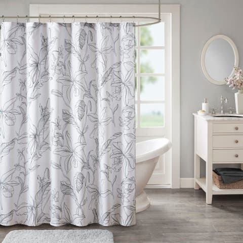 Madison Park Essentials Lisetta White/ Charcoal Printed Floral Shower Curtain