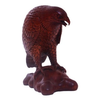 Handmade Mighty Eagle Wood Sculpture (Indonesia)