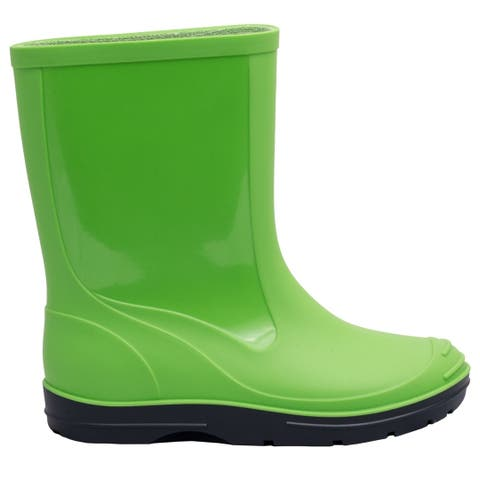 Solid Children Kids Toddler Green Navy Wellington Rain Boots