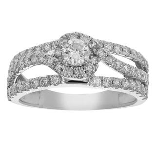 1 cttw Diamond Wedding Engagement Ring 14K White Gold Halo Round