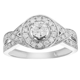 3/4 cttw Diamond Wedding Engagement Ring 14K White Gold Halo Round