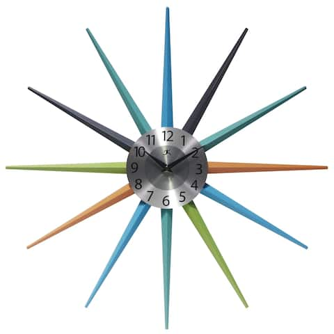 Stellar Mid-Century Modern Multicolor Starburst Unique Wall Clock