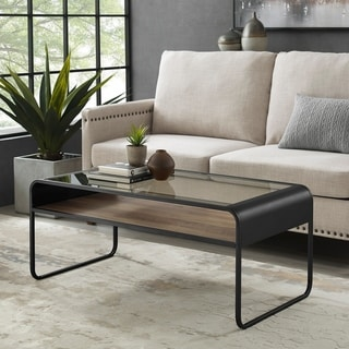 "Carbon Loft Chertovsky 42"" Reversible Shelf Curved Metal Coffee Table - 42 x 22 x 18H"