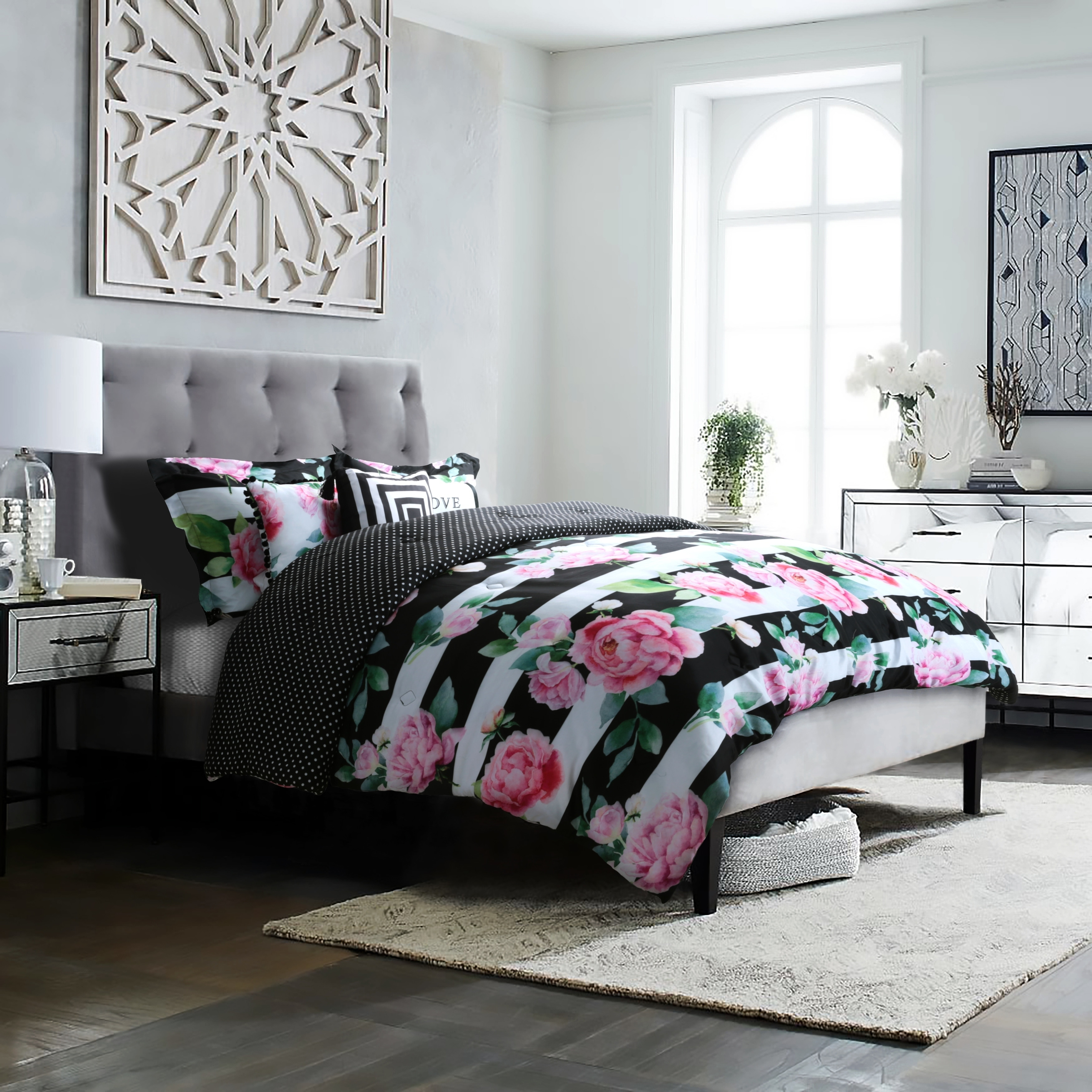 Studio8 Brand Love Printed 6 Piece Comforter Set Hand Painted Floral And Stripe In Pink Green White And Bold Black Overstock 28020808
