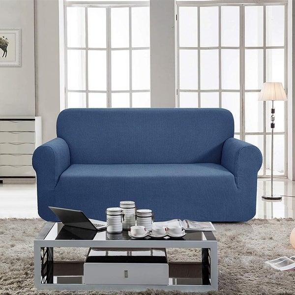 Enova Home Jacquard Polyester Spandex Fabric Box Cushion Loveseat Slipcovers