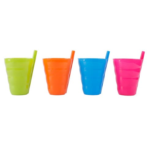 Reusable Plastic Cups with Straw