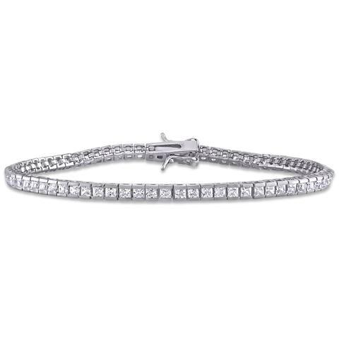 Miadora Sterling Silver 18 1/4ct TGW Square-Cut Cubic Zirconia Tennis Bracelet