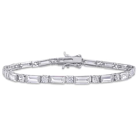 Miadora Sterling Silver 20ct TGW Baguette and Round-Cut Cubic Zirconia Tennis Bracelet