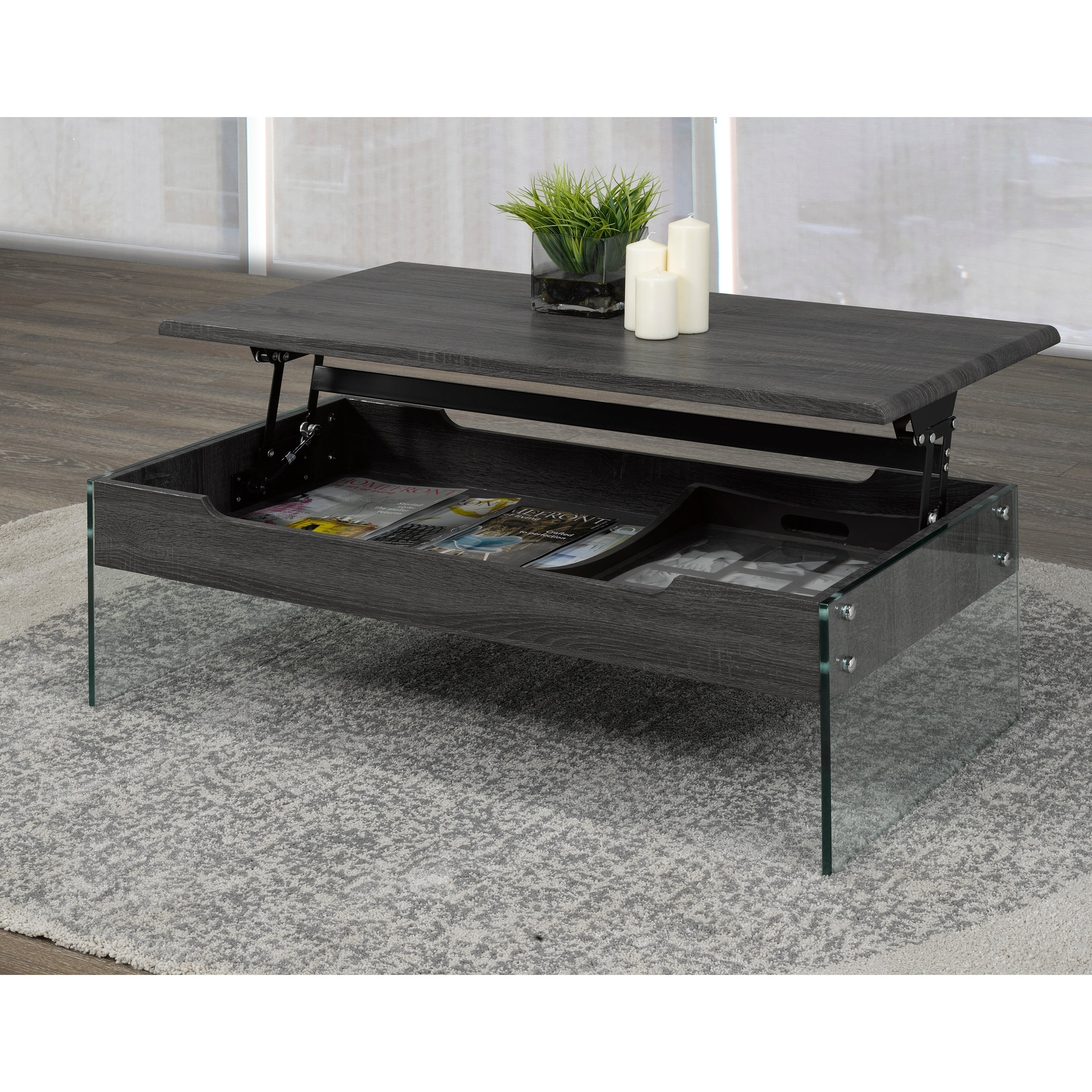 Coffee Table With Lift Top Storage Grey