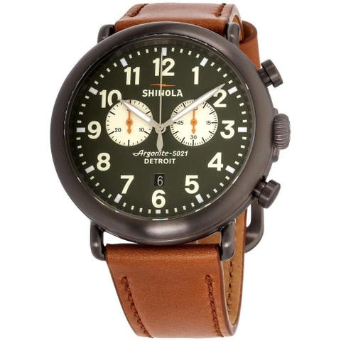 Shinola Men's S0120109237 'The Runwell' Chronograph Brown Leather Watch