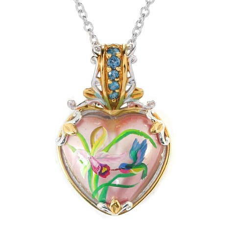 Gems en Vogue Palladium Silver Mother of Pearl Pink Shell & London Blue Topaz, Pink Flower, Bird Heart Pendant