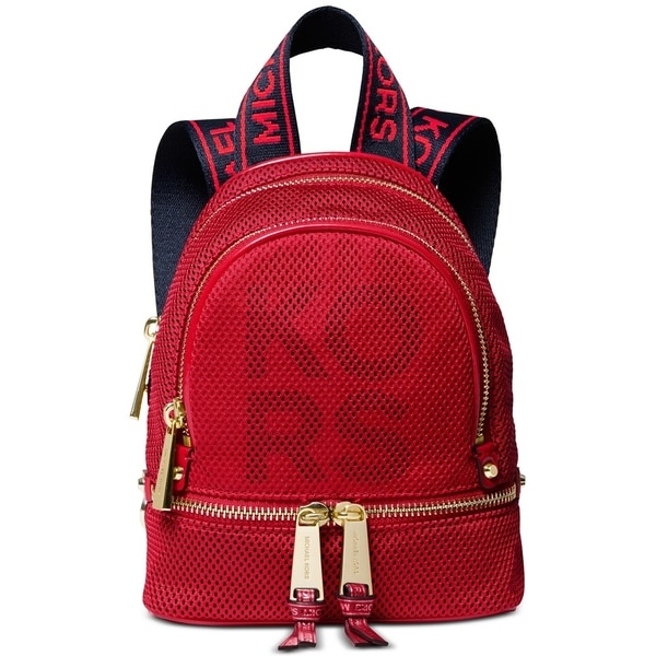 4b230bff0cf2 Shop MICHAEL Michael Kors Rhea Zip Extra Small Logo Backpack Red ...