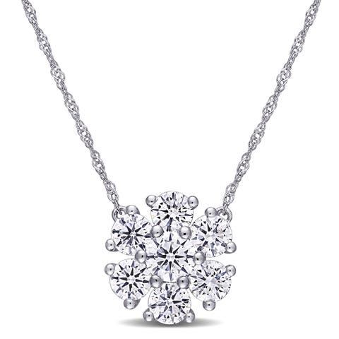Eternally Yours 1 3/5ct TW Lab Created Diamond Flower Cluster Necklace in 14k White Gold