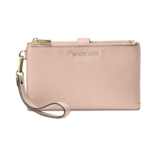 Link to MICHAEL Michael Kors  Double-Zip Pebble Leather  Wristlet  Pink/Gold Similar Items in Wallets