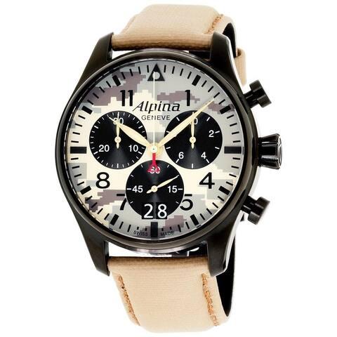 Alpina Men's AL-372MLY4FBS6 'Startimer' Chronograph Beige Nylon Watch