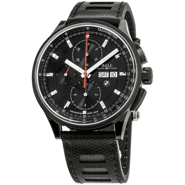 58b7ec2ae Shop Ball Men's CM3010C-P1CJ-BK 'BMW' Chronograph Black Silicone Watch - Free  Shipping Today - Overstock - 28021646