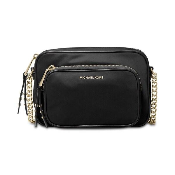 ea4af0a4c Shop MICHAEL Michael Kors Leila Nylon Camera Bag Black/Gold - Free ...