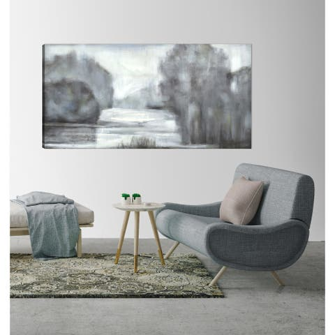 ArtMaison Canada,Abstract Lake View Giclee Gallery Wrapped Canvas Wall Art by Irina K.