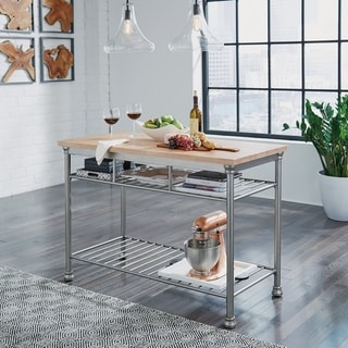 French Quarter Butcher Block Top Metal Frame Kitchen Island