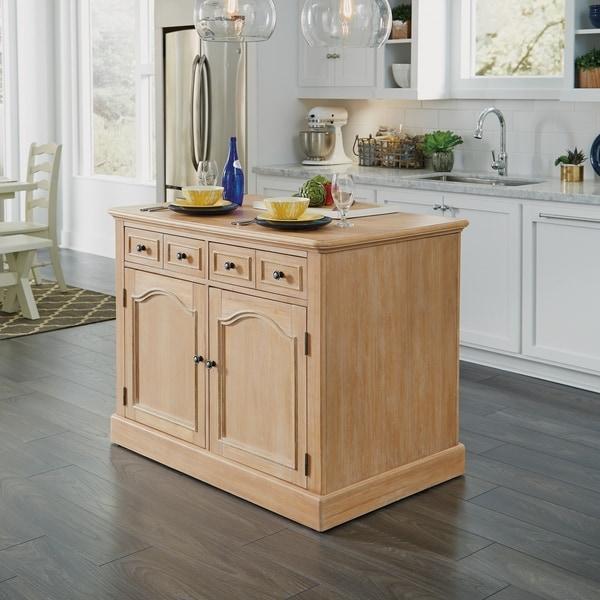 Cambridge White-washed Wood Kitchen Island