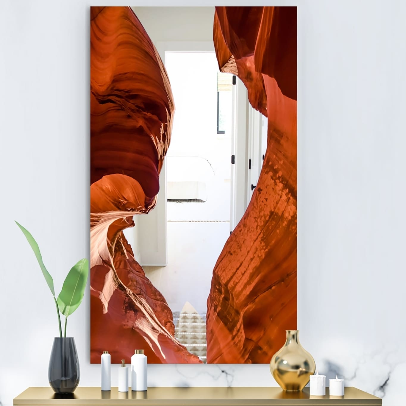 Designart Grand Antelope Canyon Modern Brown Wall Mirror (23.6 in. wide x 35.4 in. high)