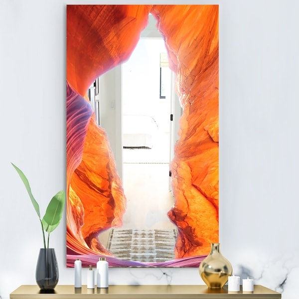 Designart 'Blue Sky In Antelope Canyon' Modern Mirror - Contemporary Large Wall Mirror - Multi