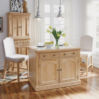 Cambridge Kitchen Island with Quartz Inset Top & Two Stools