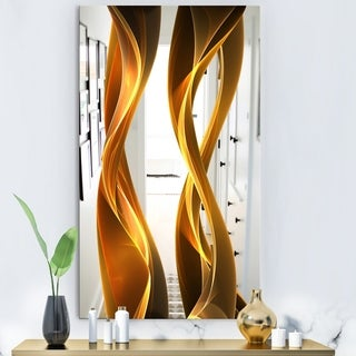 Designart 'Gold Wave II' Modern Mirror - Wall Mirror - Gold