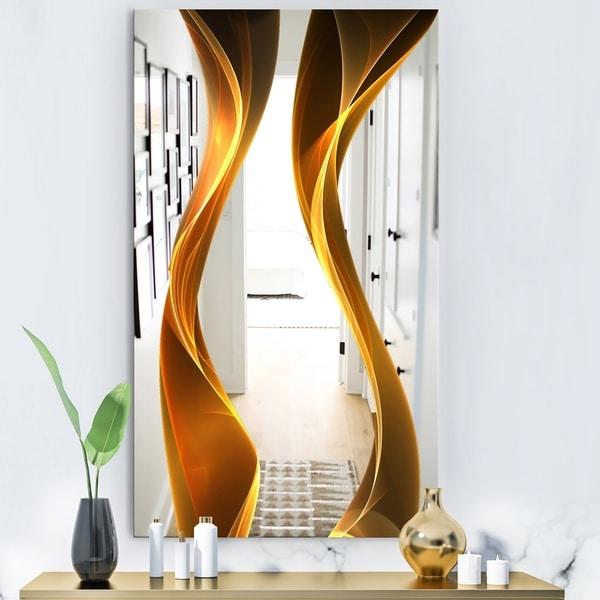 Designart 'Straight Pink Waves' Modern Mirror - Contemporary Large Wall Mirror
