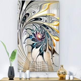 Designart 'White Stained Glass Floral Art' Modern and Mirror - Accent Mirror - White