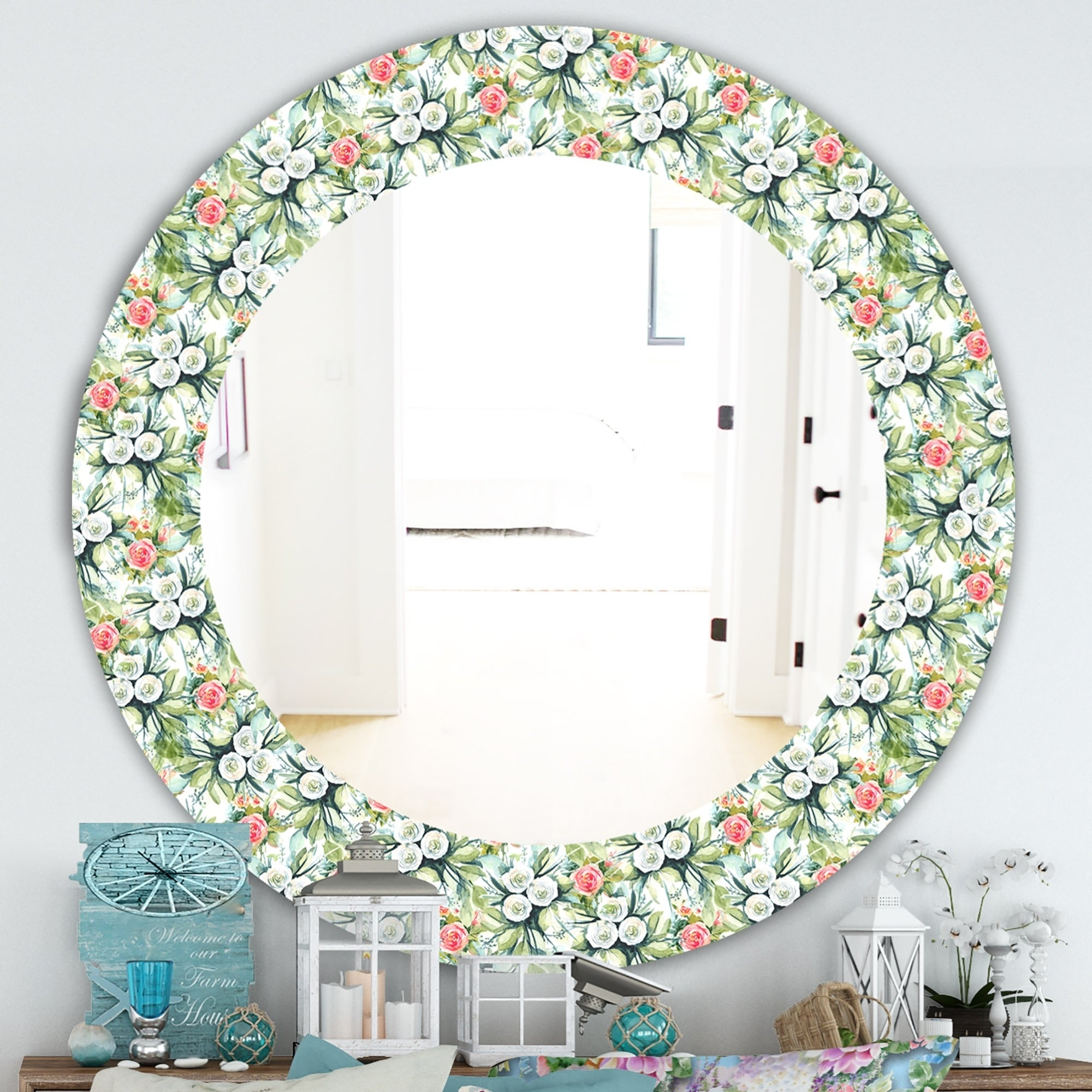 Designart Green Flowers 10 Traditional Mirror Frameless Oval Or Round Wall Mirror Overstock 28022072