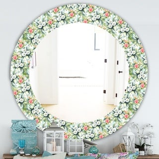 Designart 'Green Flowers 10' Traditional Mirror - Frameless Oval or Round Wall Mirror