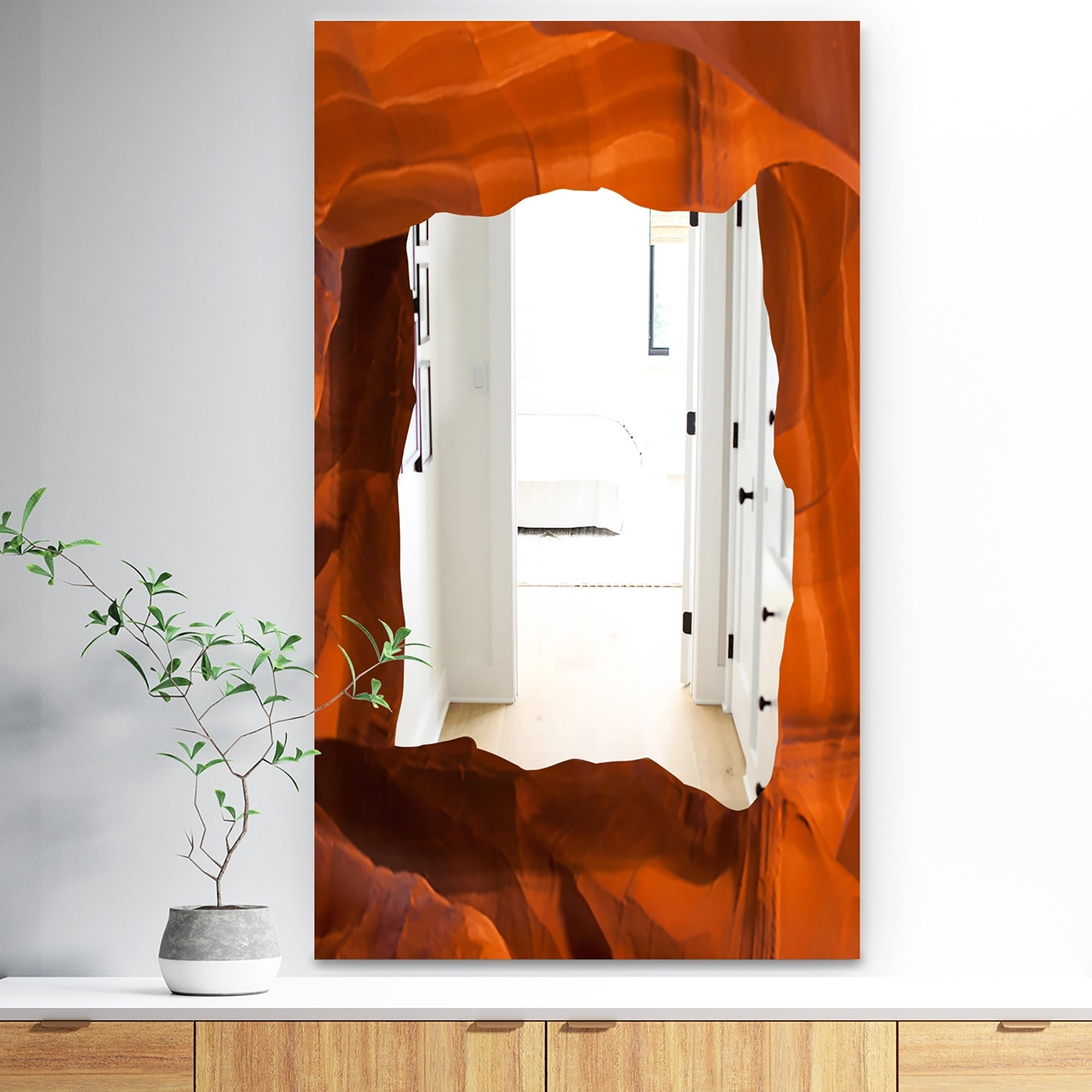 Designart Light Beam In Antelope Canyon In Arizona I Traditional Brown Large Wall Mirror (27.5 in. wide x 47.4 in. high)