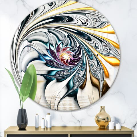 Designart 'White Stained Glass Floral Art' Modern Mirror - Contemporary Oval or Round Wall Mirror - White
