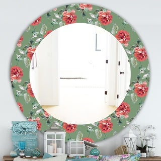 Designart 'Green Flowers 1' Traditional Mirror - Frameless Oval or Round Wall Mirror - Green