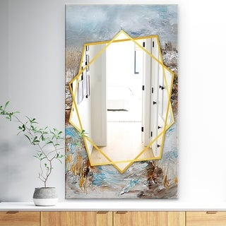 Designart Winter Seasonwith Trees Traditional Mirror - Frameless Wall Mirror - White (27.5 in. wide x 47.4 in. high)