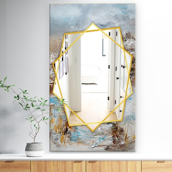 Designart 'Winter Seasonwith Trees' Traditional Mirror - Frameless Wall Mirror - White