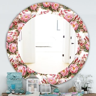 Designart 'Pink Blossom 1' Farmhouse Mirror - Frameless Oval or Round Wall Mirror - White