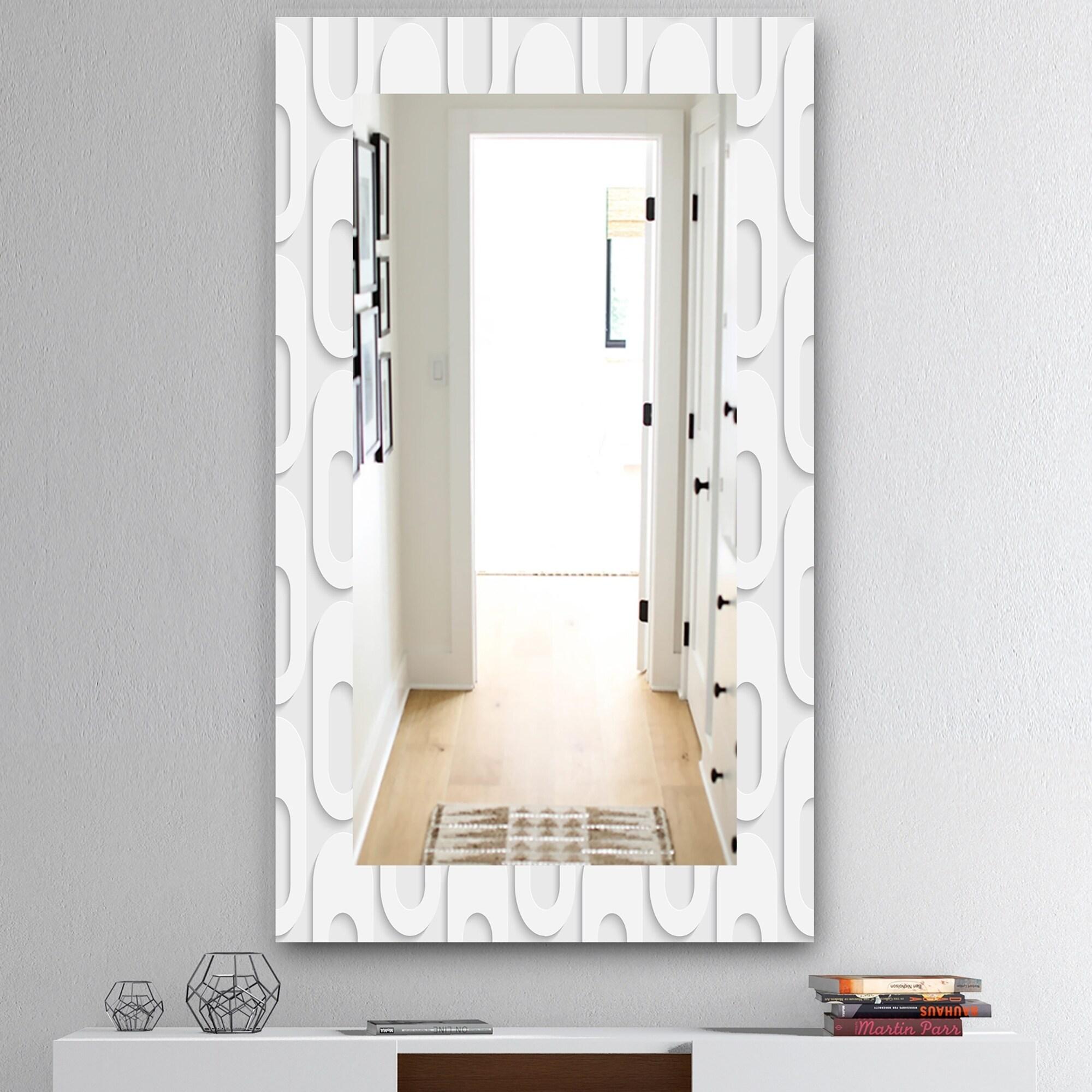 Designart Scandinavian 3 Mid-Century Mirror - Frameless Vanity Mirror - White (27.5 in. wide x 47.4 in. high)