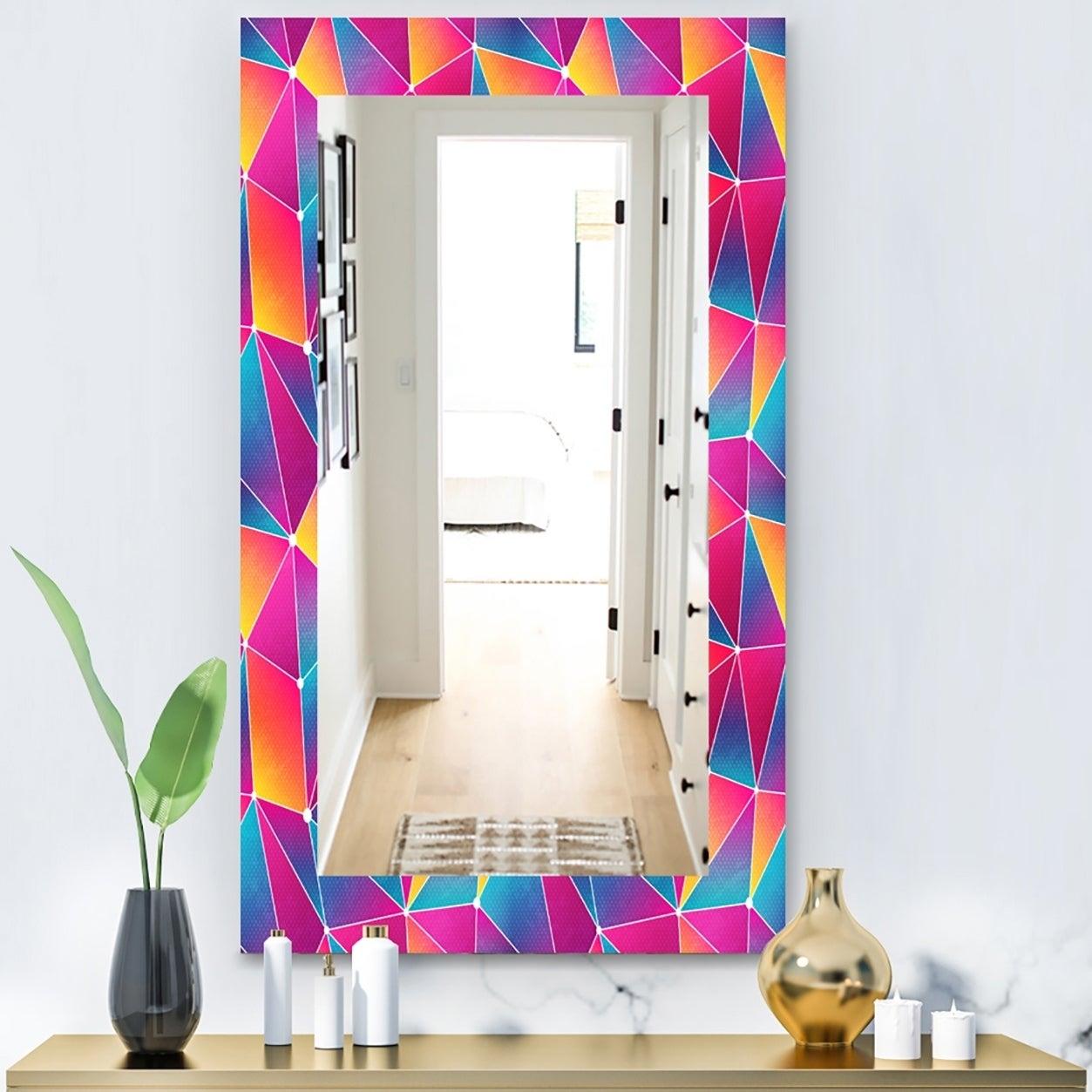 Designart Bright Triangle With Grunge Effect Modern Mirror - Frameless Vanity Mirror - Blue (29.5 in. wide x 39.4 in. high)