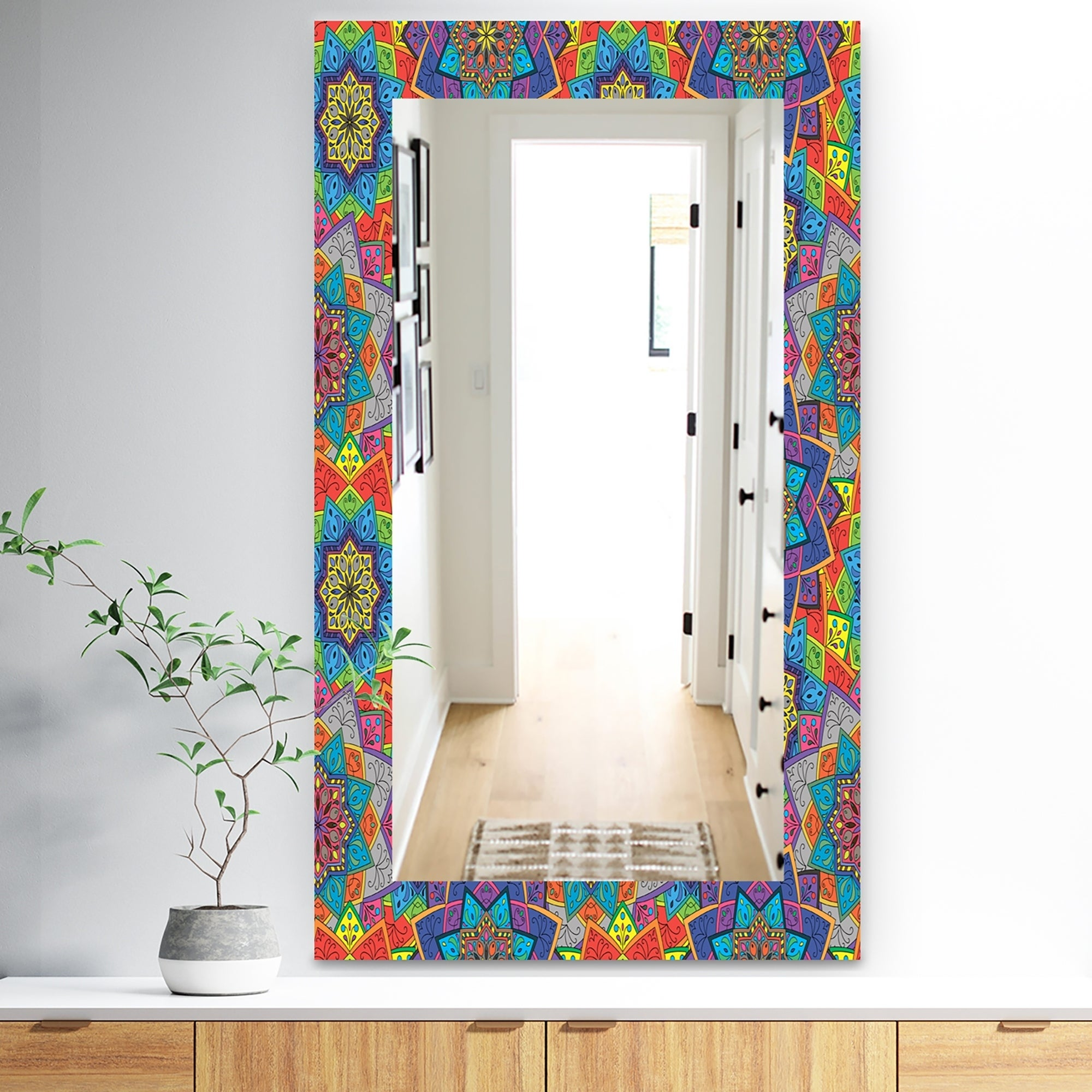 Designart Colored Indian Ornament Bohemian and Eclectic Mirror - Frameless Modern Wall Mirror - Blue (27.5 in. wide x 47.4 in. high)