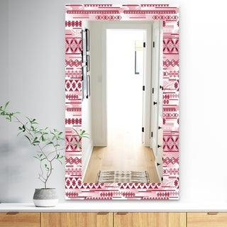 Designart 'Irregular Pattern' Bohemian and Eclectic Mirror - Frameless Modern Wall Mirror - Red