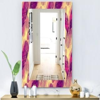 Designart 'Feathers 3' Modern Mirror - Frameless Vanity Mirror - Purple