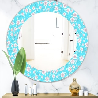 Designart 'Flower Pattern' Modern Mirror - Frameless Oval or Round Wall Mirror - Blue
