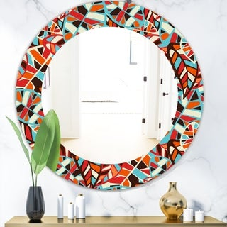 Designart 'Feathers 4' Modern Mirror - Frameless Oval or Round Wall Mirror - Red