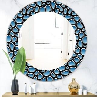 Designart 'Scandinavian 9' Modern Mirror - Frameless Oval or Round Wall Mirror - Blue