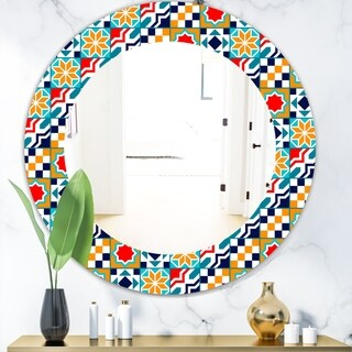 Designart 'Colorful Geometric Tiles Pattern' Modern Mirror - Frameless Oval or Round Wall Mirror - Red